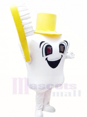 Yellow Hat Tooth with Toothbrush for Dentist Clinic Mascot Costumes