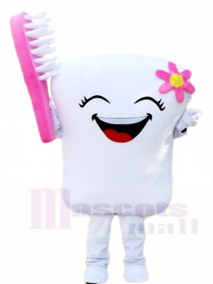 Tooth with Pink Toothbrush for Dentist Clinic Mascot Costumes