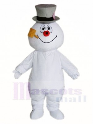 Frosty Snowman with Hat Mascot Costumes Christmas Xmas