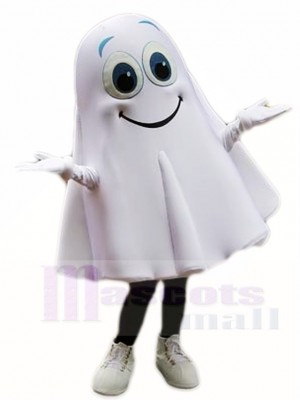 Smiling White Ghost Spirit Mascot Costumes Halloween