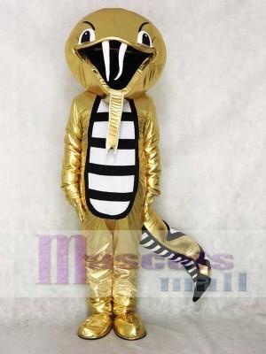 Golden Rattle Cobra Snake Mascot Costume Reptiles