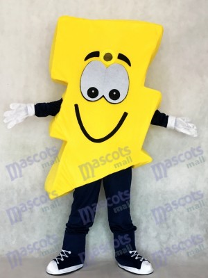 Cute Yellow Lightning Bolt Mr. Electric Mascot Costume
