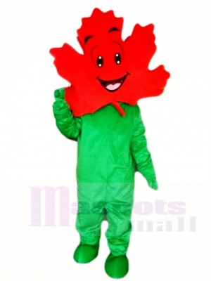 Green Body Maple Leaf Mascot Costumes Plant