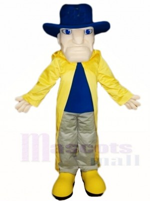 Cavalier in Yellow Dust Coat Mascot Costumes People