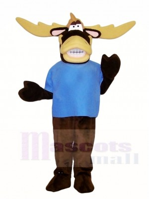 Blue Shirt Moose Mascot Costumes Animal