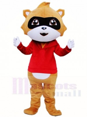 Brown Raccoon in Red Vest Mascot Costumes Animal