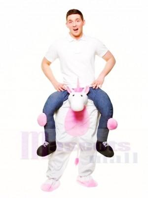 Piggy Back White Unicorn Carry Me Ride on Mascot Costumes Halloween Christmas