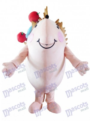 Happy Hedgehog with Red Apples Mascot Costume Animal