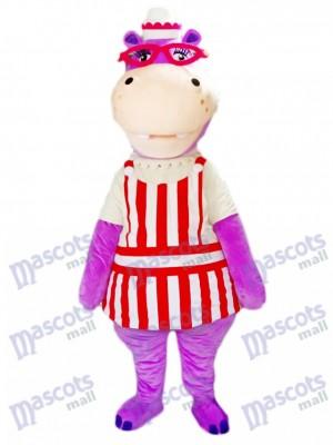 Purple Hippo Hippopotamus with Glasses Mascot Costume Animal
