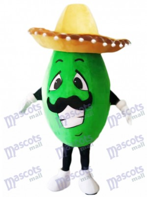 Mexican Avocado Mascot Costume with a Big Hat