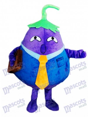 Purple Eggplant Father Vegetable Mascot Costume Food Plant