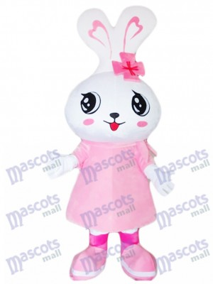 Big Head Pink Rabbit Eater Bunny Mascot Costume Animal
