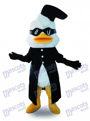 Black Suit Duck Mascot Costume with Glasses Animal