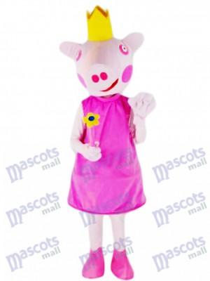 Pink Pig Princess Mascot Costume Farm