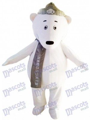 Polar Bears with Grey Hat and Scarf Mascot Costume Animal