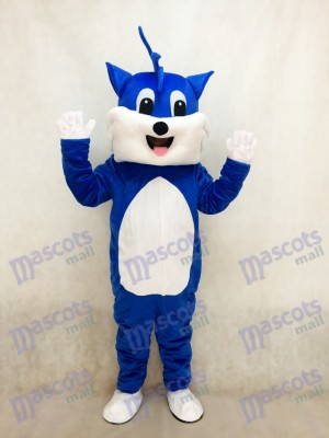 Blue Cat Adult Mascot Costume with White Belly Animal