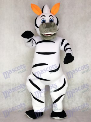 Orange Ears Madagascar Zebra Marty Mascot Adult Costume