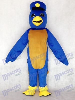Adult Cute Blue Bird Mascot Costume with Captain Duckling Hat Animal