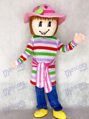 Lovely Colorful Strawberry Shortcake Girl Mascot Costume Cartoon