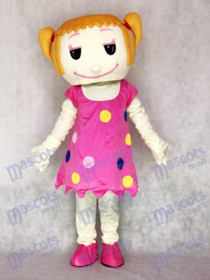 Solid Hair Girl in Pink Dress Adult Mascot Costume People