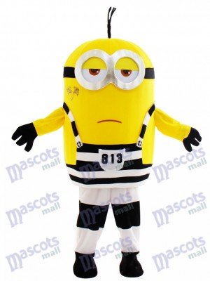 Two Eyes Minion in Prison Despicable Me with Tattoo Mascot Costume Cartoon