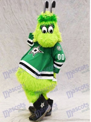 Victor E. Green of Dallas Stars Mascot Costume Furry Green Alien with Hockey Sticks