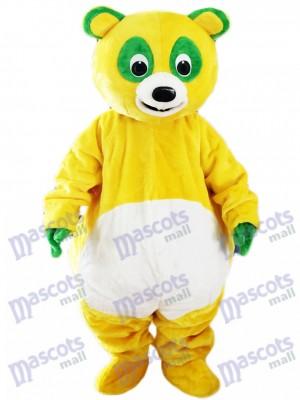 Yellow Bear with Green Eyes Mascot Costume Cartoon Animal