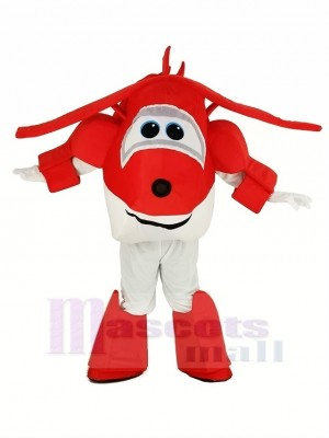 Red Airplane Jett Super Wings Plane Mascot Costume Cartoon