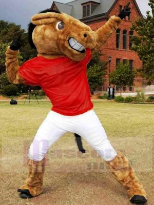 New Central's Buddy Broncho Horse with Dark Red Jersey Mascot Costume