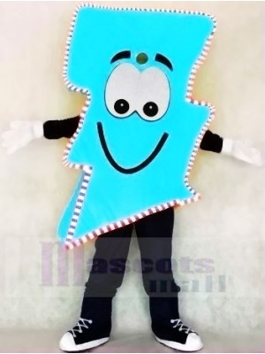 Neon Blue Lightning Bolt with Color Trim Mr. Electric Lightning Bolt Mascot Costumes
