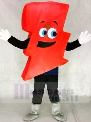 Neon Red Lightning Bolt Mr. Electric Lightning Bolt Mascot Costumes