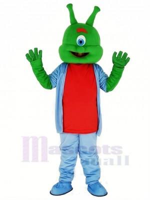 Green Alien in Blue Mascot Costume Cartoon