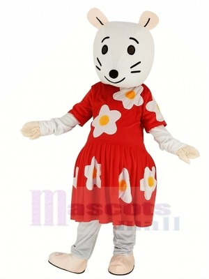 Gray Mouse with Red Dress Mascot Costume Cartoon