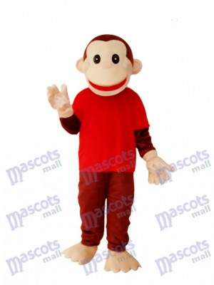 Happy Monkey in Red Shirts Mascot Adult Costume Animal