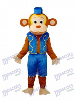 Clown Monkey in Blue Vest Mascot Adult Costume Animal