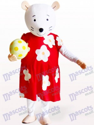 Cute Mouse In Red And White Floral Dress Animal Mascot Costume