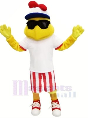 Fashion Chicken with White T-shirt Mascot Costumes Animal