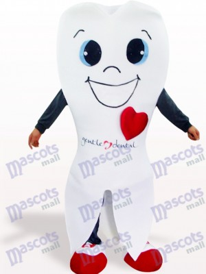 White Tooth Cartoon Adult Mascot Costume