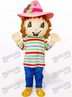 Lovely Colorful Strawberry Shortcake Girl Adult Mascot Costume