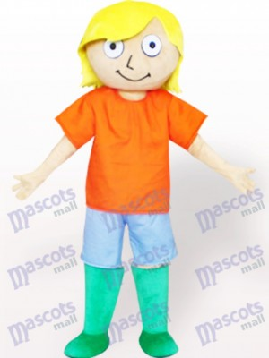 Yellow Hair Boy Cartoon Adult Mascot Costume
