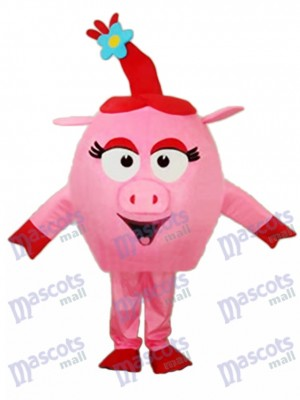 Red Round Pig Mascot Adult Costume Animal