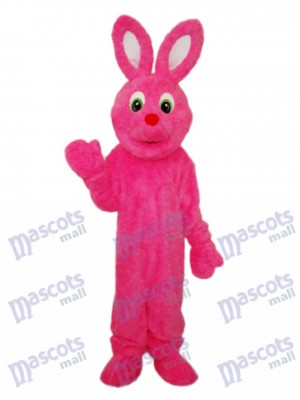 Easter Pink Furry Rabbit Mascot Adult Costume Animal