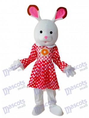 Easter Rabbit in White Dot Red Dress Mascot Adult Costume Animal