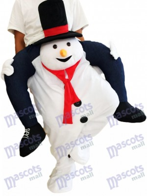Piggyback Snowman Carry Me Ride White Snowman Mascot Costume