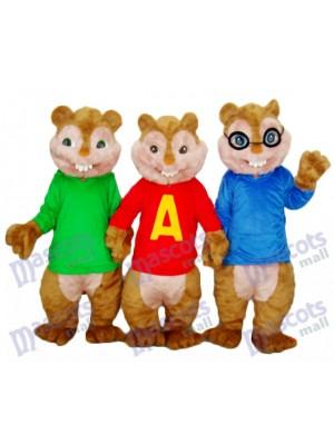 Alvin Simon and Theodore Chipmunk Mascot Adult Costume Animal