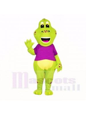 Green Dinosaur with Purple Shirt Mascot Costumes Cartoon