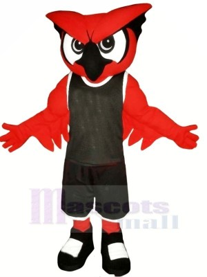 Red Owl with Black Suit Mascot Costumes