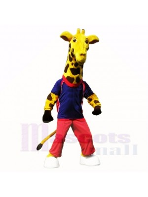 Sport Giraffe with Blue Shirt Mascot Costumes School