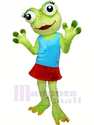 Girl Frog with Blue Vest Mascot Costumes Cartoon