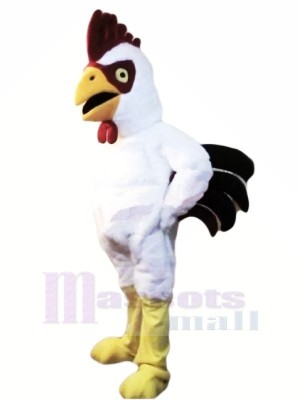 Power Muscular White Rooster Mascot Costumes Cartoon